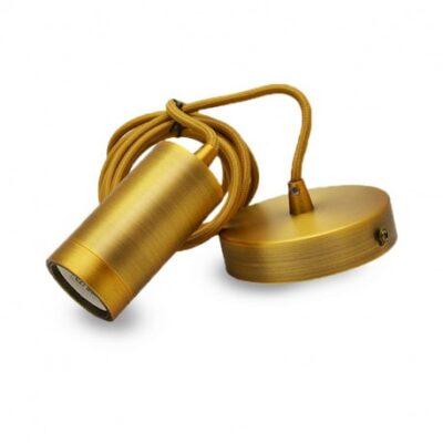 El-vision Suspension Douille E27 Metal Cylindre Mat marron bronze + Câble 2m -5024