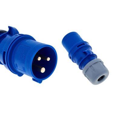 Fiche CEE 16A 230V pour montage sur câble 2P+E Bleu - 113-6