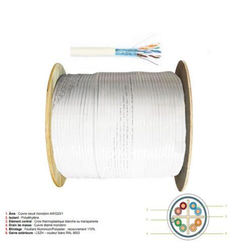 Câble RJ45 F/UTP 4P CAT 6A SH 500m - FXP6ASH