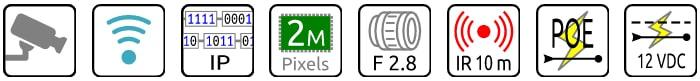 Camera WIFI IP 2MPx 2.8mm
