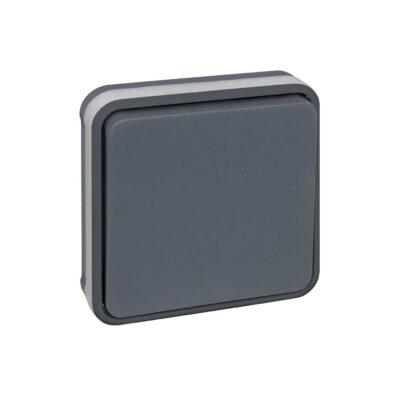 Bouton poussoir - 10A complet encastré - 1 poste - Gris - 60883