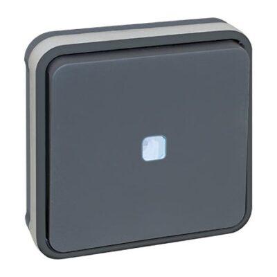 Bouton poussoir lumineux - 10A - Oxxo - 1 poste - Gris - 60884