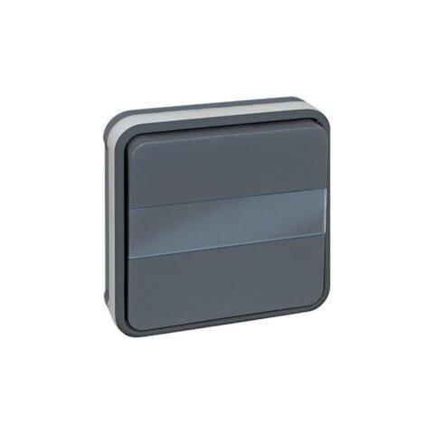 Bouton poussoir avec porte étiquette lumineux 10A - Gris - 60885