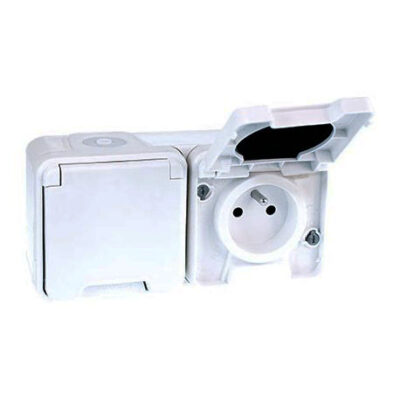 Double prise horizontale 2P+T - 1 poste - 16A - 250V - IP55 - Blanc - 60851