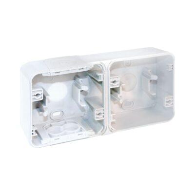 Boite 2 poste horizontale - blanc - saillie - 60866